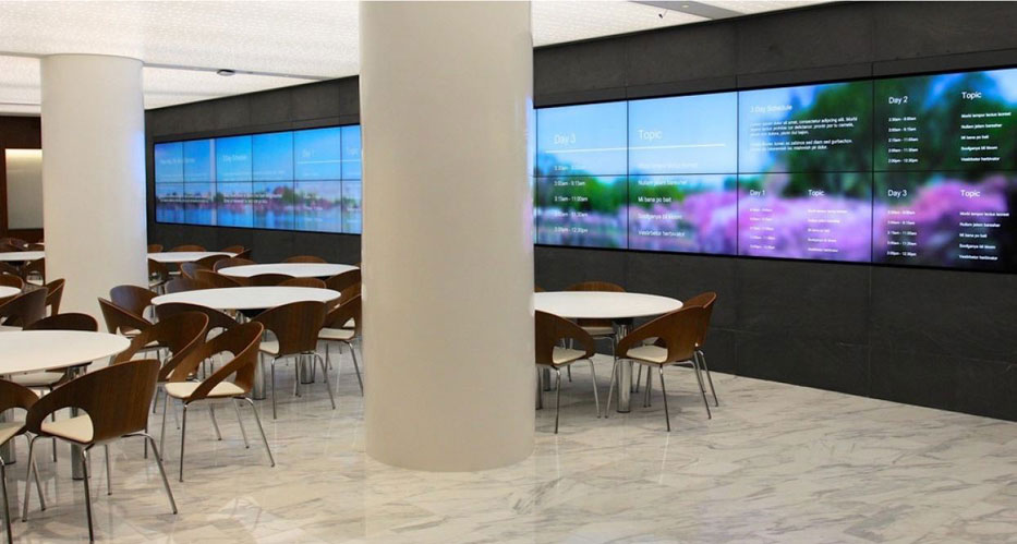 Video Wall Design this image is a video wall in an exclusive video wall design made of various different Video Walls Take Off