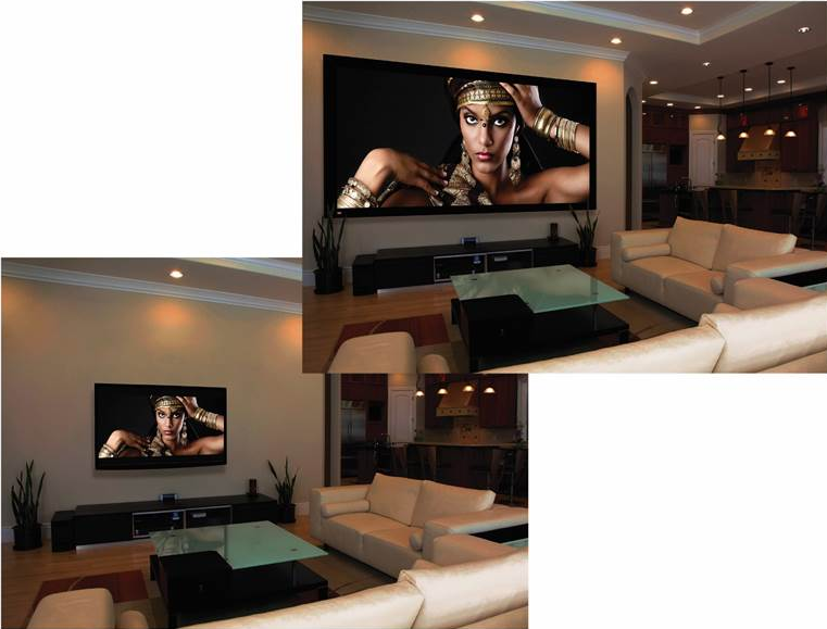 projection video screen, projection tv, home theater, home video, home movie theater, large video,